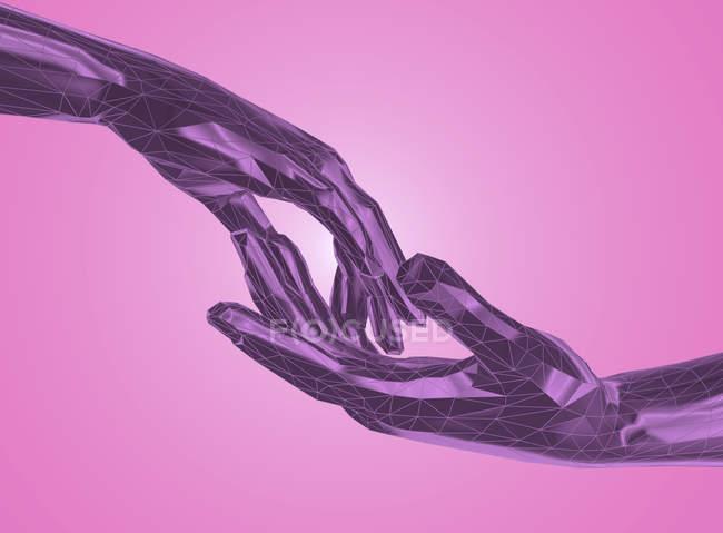 Mãos tocando em baixo estilo poli, ilustração digital . — Fotografia de Stock