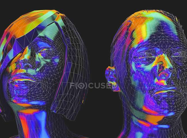 Male and female faces in low poly style, digital illustration. — Stock Photo