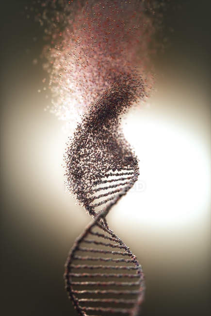 Abstract digital illustration of DNA molecule with genetic damage. — Stock Photo