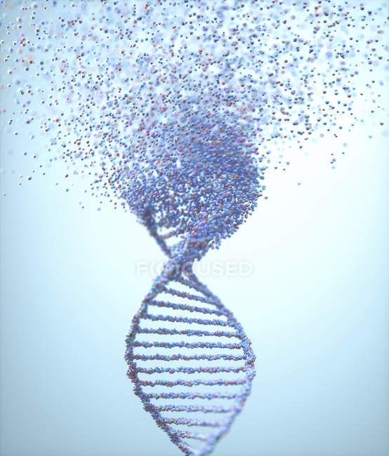 Molecola di Dna in rovina, illustrazione concettuale del disturbo genetico. — Foto stock