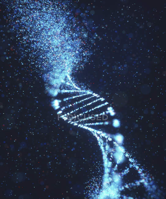 Damaged DNA molecule, genetic disorder conceptual illustration. — Stock Photo