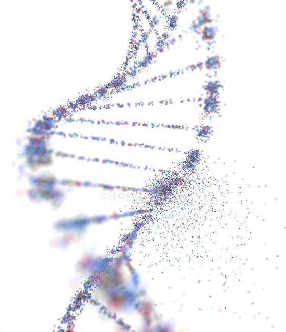 Konzeptionelle digitale Illustration des dna-Moleküls mit genetischen Schäden. — Stockfoto