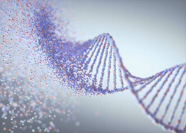 Ruining DNA molecule, genetic disorder conceptual illustration. — Stock Photo