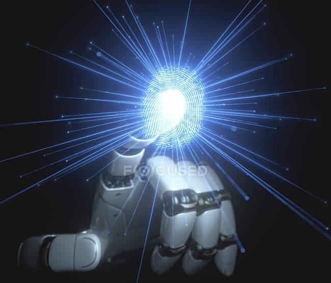 Роботизированная рука, касающаяся цифрового отпечатка пальцев, концептуальная иллюстрация искусственного интеллекта. — стоковое фото