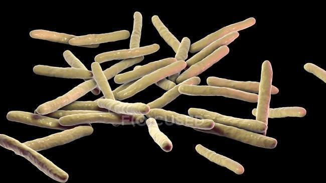 Ilustração digital de Mycobacterium leprae bactérias Gram-positivas em forma de bastonete, agente causador da doença hanseníase . — Fotografia de Stock