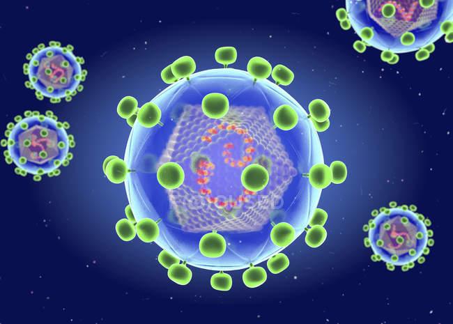 Цифровая иллюстрация ретровируса типа ВИЧ, вызывающего коллапс иммунной системы и AIDS . — стоковое фото