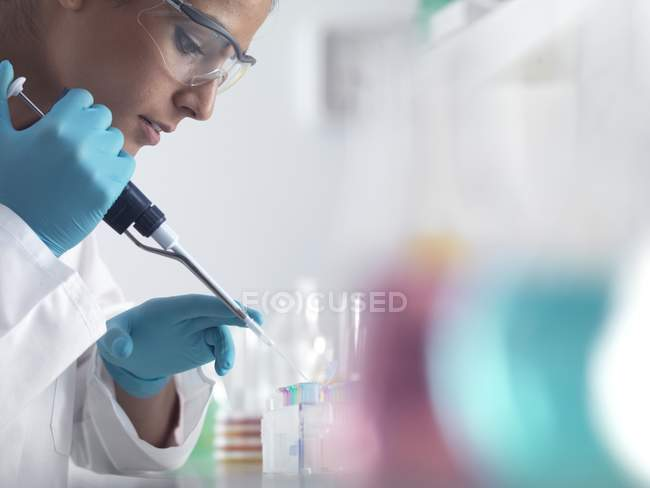 Scientist pipetting sample into micro centrifuge tubes ready for automated analysis. — Stock Photo