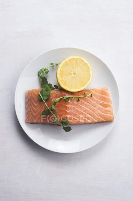 Saumon cru et citron avec herbes sur assiette ronde. — Photo de stock