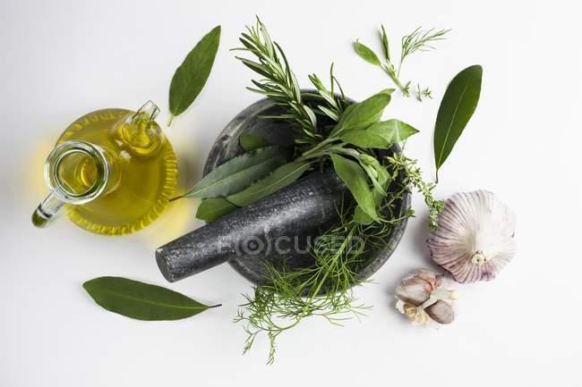 Mörser und Stößel mit Knoblauch und Kräutern und Olivenöl. — Stockfoto