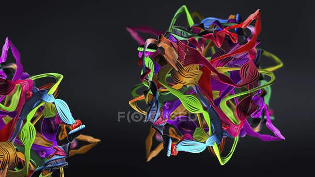 Formación abstracta de proteínas, ilustración digital . - foto de stock