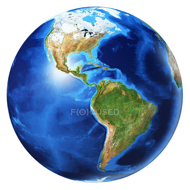 North America and South America view of Earth globe, detailed and photorealistic 3d illustration on white background. — Stock Photo