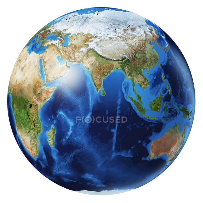 Asia view of Earth globe, detailed and photorealistic 3d illustration on white background. — Stock Photo
