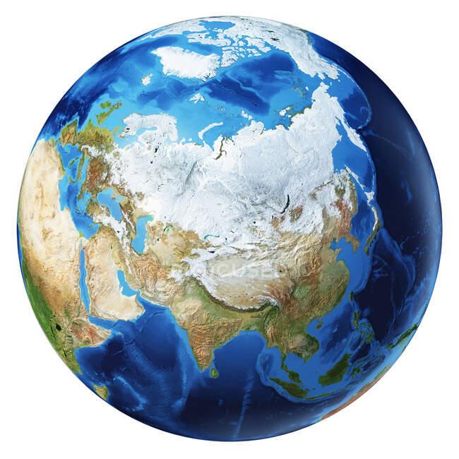 Norte da Ásia vista do globo terrestre, ilustração 3D detalhada e fotorealista sobre fundo branco . — Fotografia de Stock