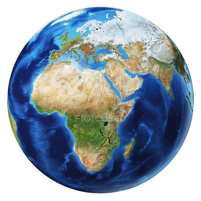 África, Asia y Europa vista del globo terráqueo, ilustración 3D detallada y fotorrealista sobre fondo blanco . - foto de stock