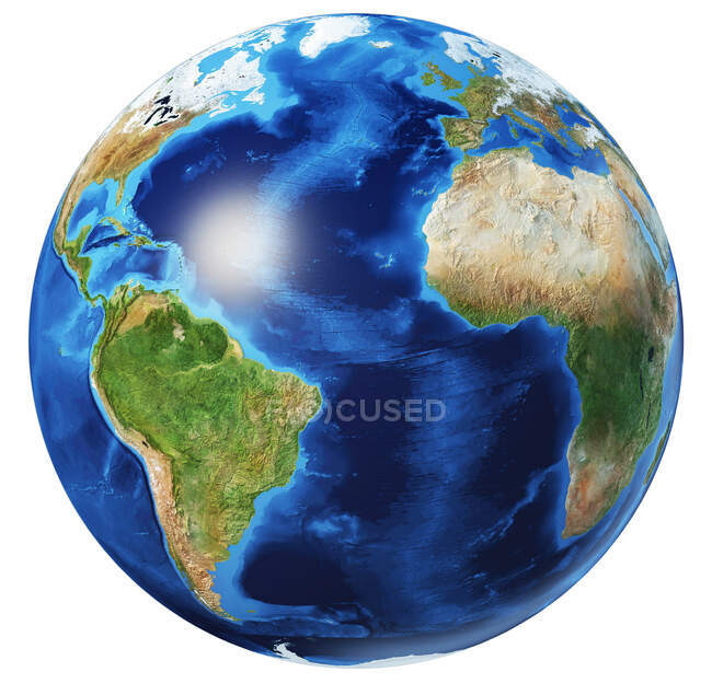 Atlantic Ocean view of Earth globe, detailed and photorealistic 3d illustration on white background. — Stock Photo