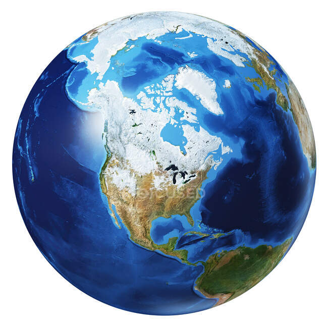 North America view of Earth globe, detailed and photorealistic 3d illustration on white background. — Stock Photo