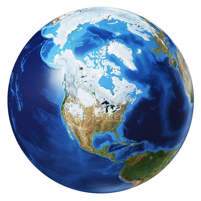 Північна Америка погляд на земну кулю, детальний і фотореалістичний 3d ілюстрація на білому тлі. — стокове фото