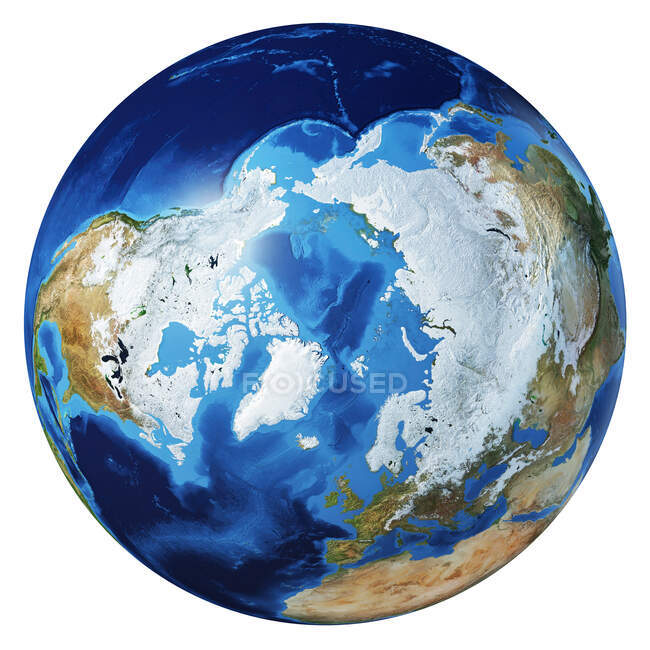 Arctic and North Pole view of Earth globe, detailed and photorealistic 3d illustration on white background. — Stock Photo