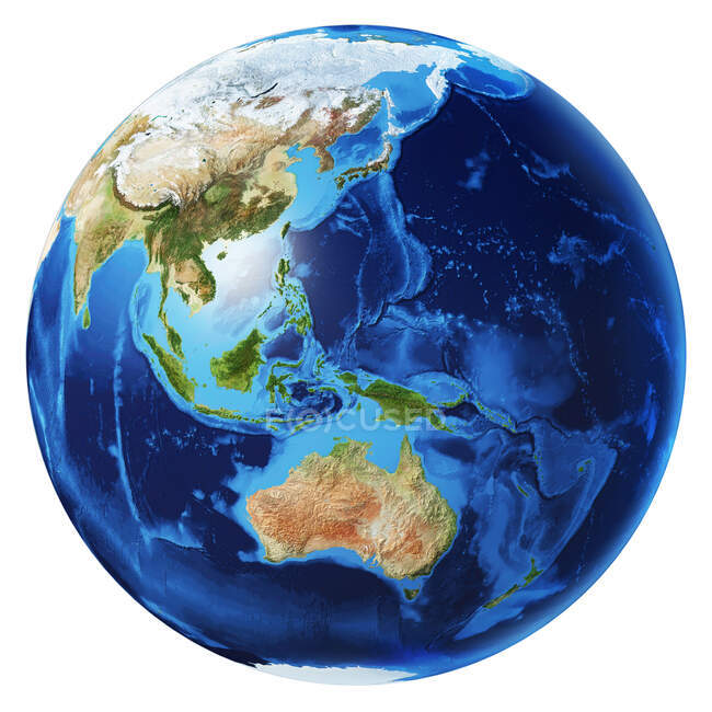 Oceania view of Earth globe, detailed and photorealistic 3d illustration on white background. — Stock Photo