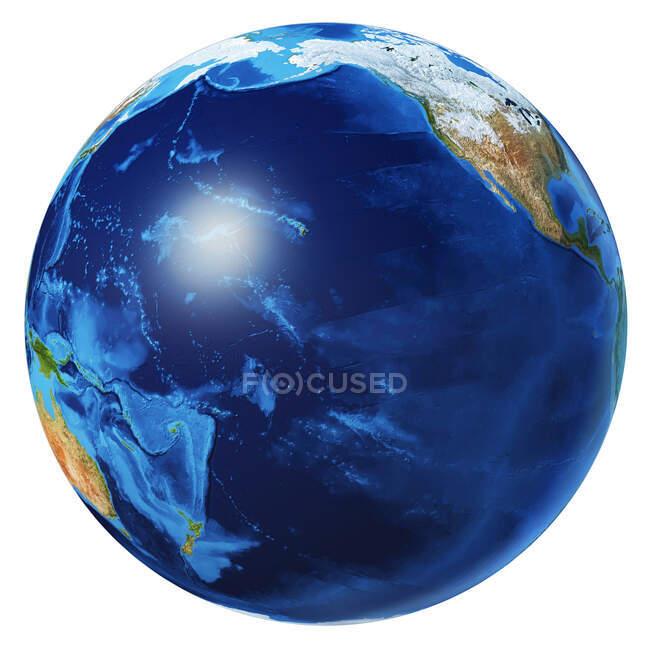 Pazifik-Ansicht der Erdkugel, detaillierte und fotorealistische 3D-Illustration auf weißem Hintergrund. — Stockfoto