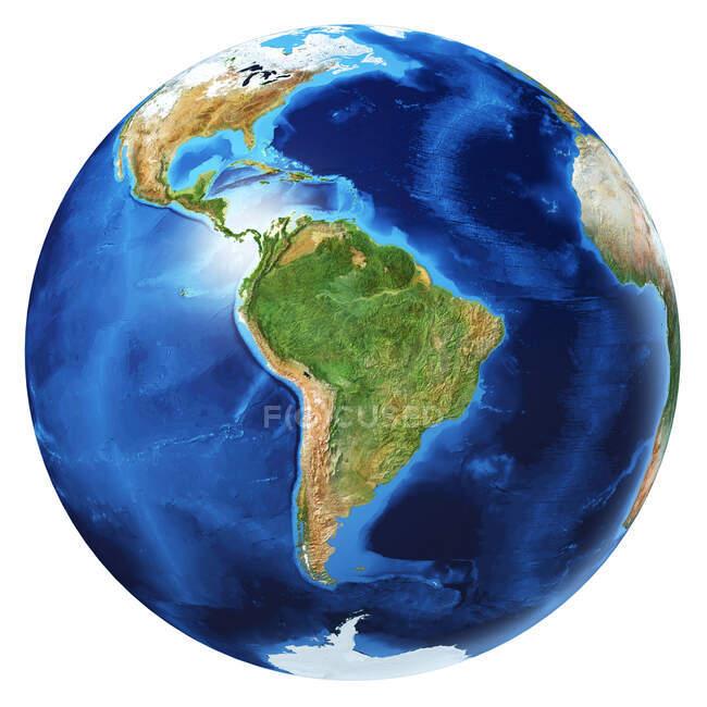 Sud America vista del globo terrestre, dettagliata e fotorealistica illustrazione 3d su sfondo bianco . — Foto stock