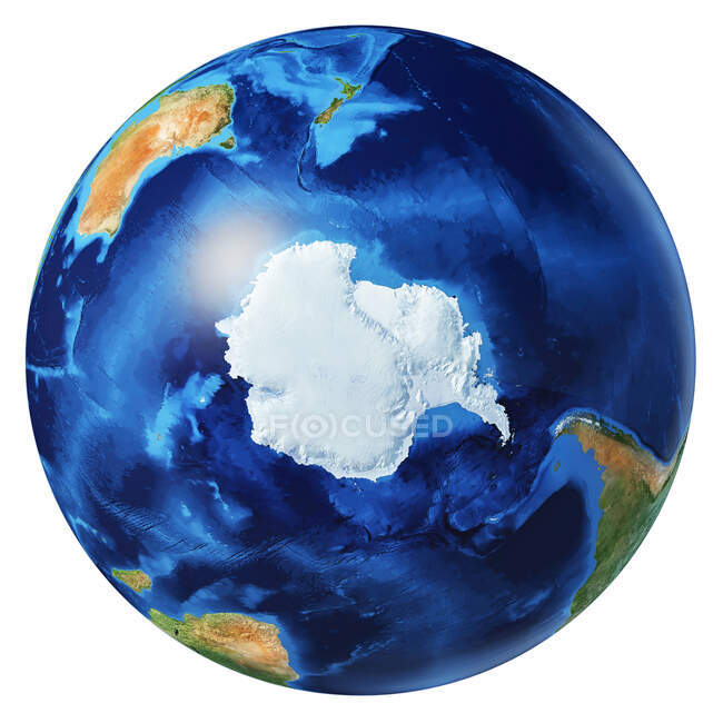 Antarctic and South Pole view of Earth globe, detailed and photorealistic 3d illustration on white background. — Stock Photo