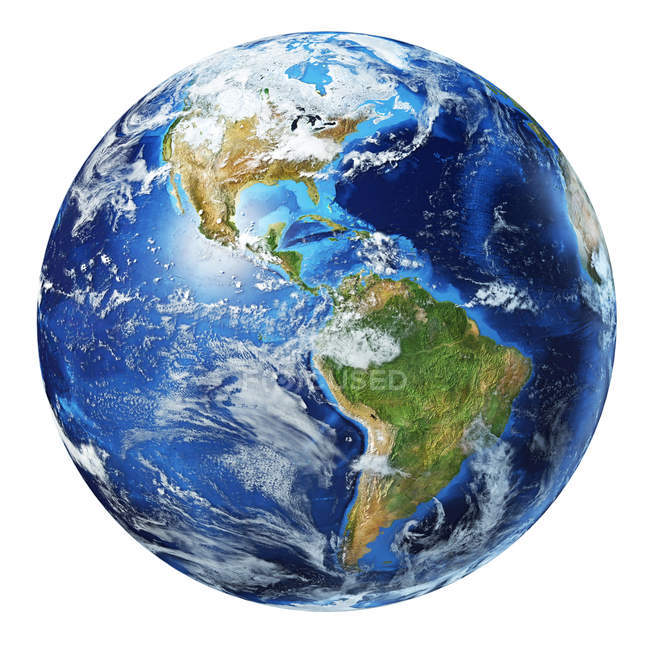 North America and South America with clouds view of Earth globe, detailed and photorealistic 3d illustration on white background. — Stock Photo