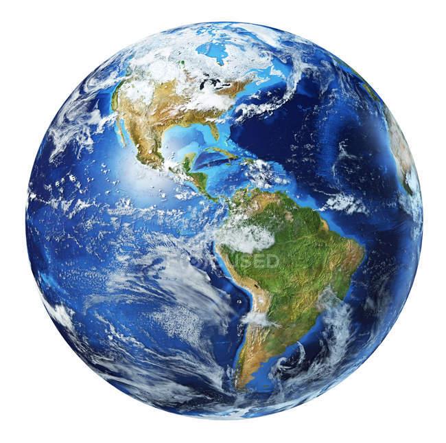 América del Norte y América del Sur con vista de nubes del globo terráqueo, ilustración 3D detallada y fotorrealista sobre fondo blanco . - foto de stock