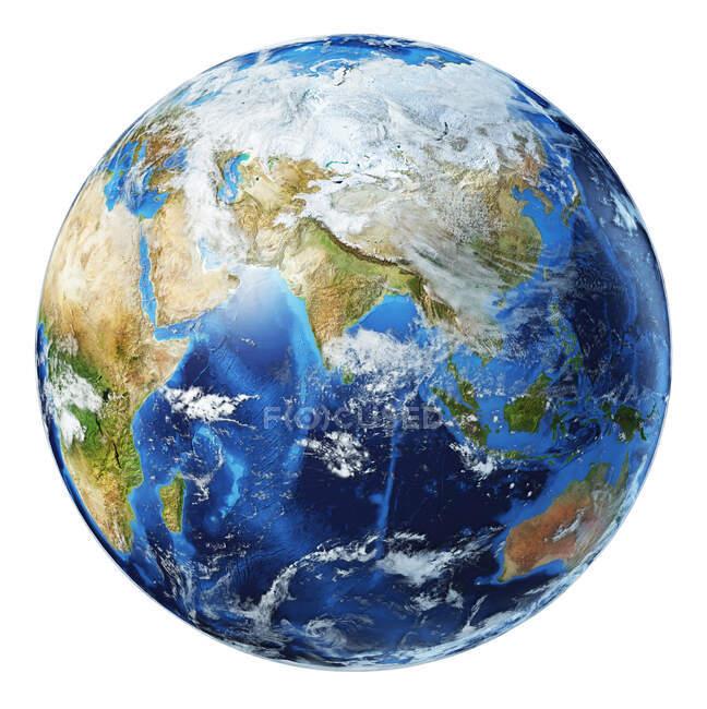 Азия с облачным видом на земной шар, подробная и фотографическая трехмерная иллюстрация на белом фоне. — стоковое фото