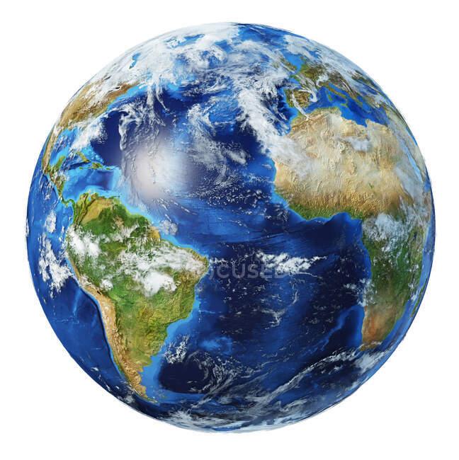 Oceano Atlântico com nuvens vista do globo terrestre, ilustração 3D detalhada e fotorealista sobre fundo branco . — Fotografia de Stock