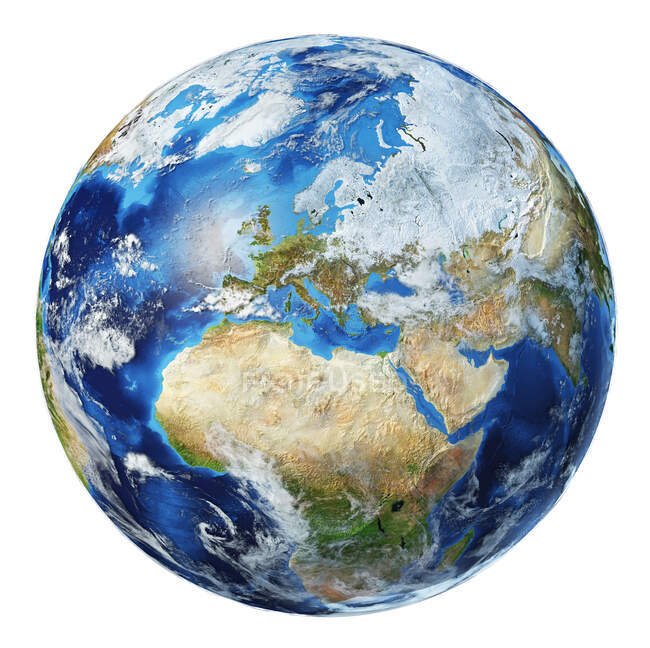Europe with clouds view of Earth globe, detailed and photorealistic 3d illustration on white background. — Stock Photo