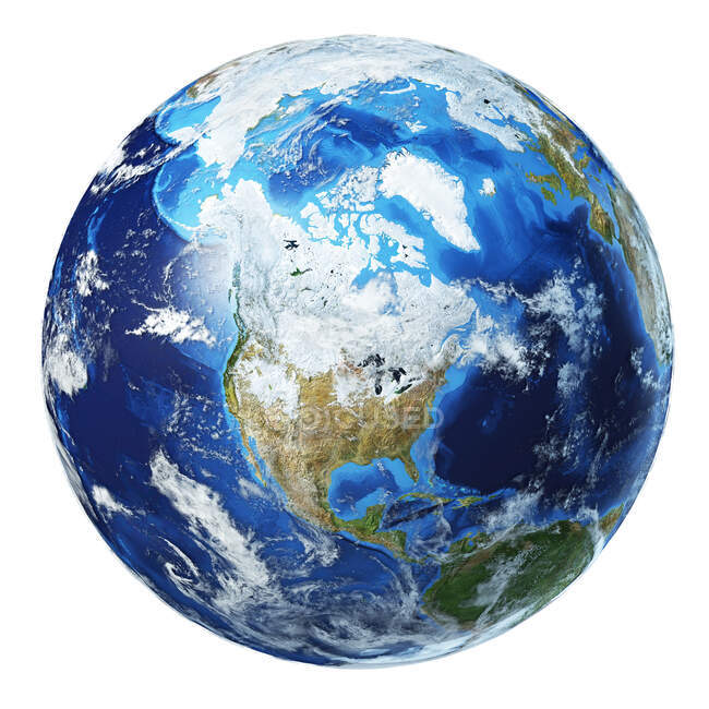North America view of Earth globe, detailed and photorealistic 3d illustration. — Stock Photo