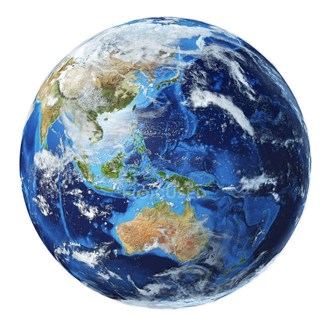 Oceania view of Earth globe, detailed and photorealistic 3d illustration. — Stock Photo