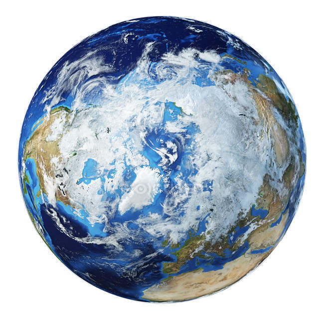 North Pole view of Earth globe, detailed and photorealistic 3d illustration. — Stock Photo