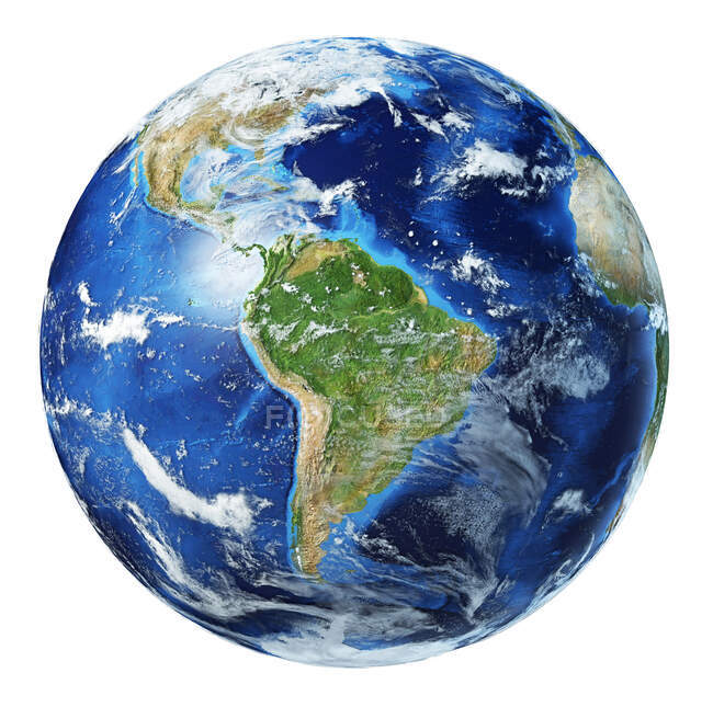 South America view of Earth globe, detailed and photorealistic 3d illustration. — Stock Photo