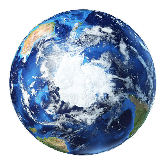 South Pole view of Earth globe, detailed and photorealistic 3d illustration. — Stock Photo