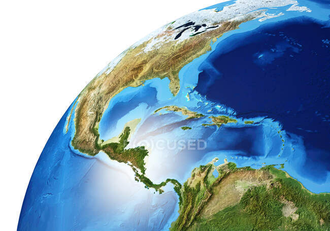 North and South America area of Earth globe, detailed and photorealistic 3d illustration. — Stock Photo