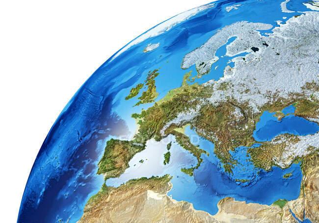 Europa área de la Tierra globo, detallado y fotorrealista 3d ilustración . - foto de stock