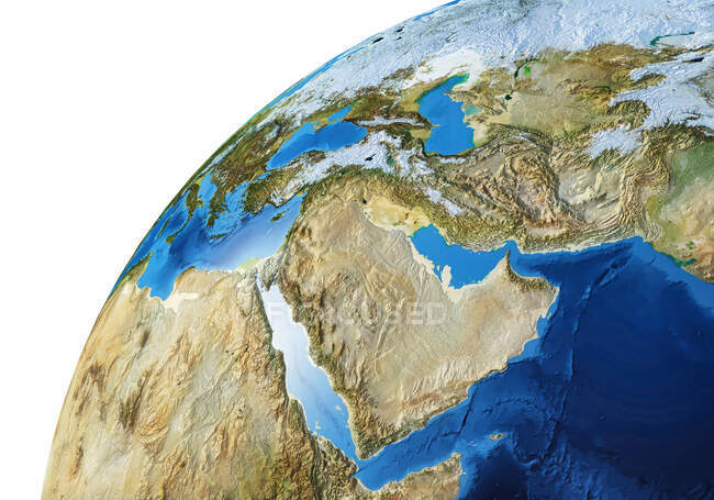 Middle East area of Earth globe, detailed and photorealistic 3d illustration. — Stock Photo