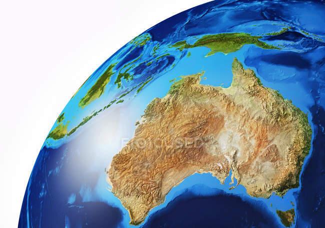 Australien und Ozeanien Bereich der Erdkugel, detaillierte und fotorealistische 3D-Illustration. — Stockfoto