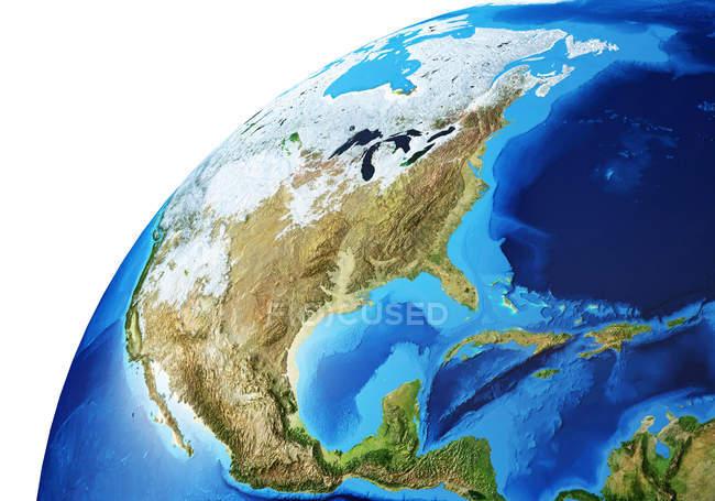 Nordamerika Bereich der Erdkugel, detaillierte und fotorealistische 3D-Illustration. — Stockfoto