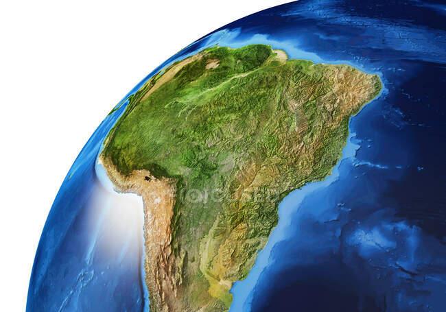 Südamerika Bereich der Erdkugel, detaillierte und fotorealistische 3D-Illustration. — Stockfoto