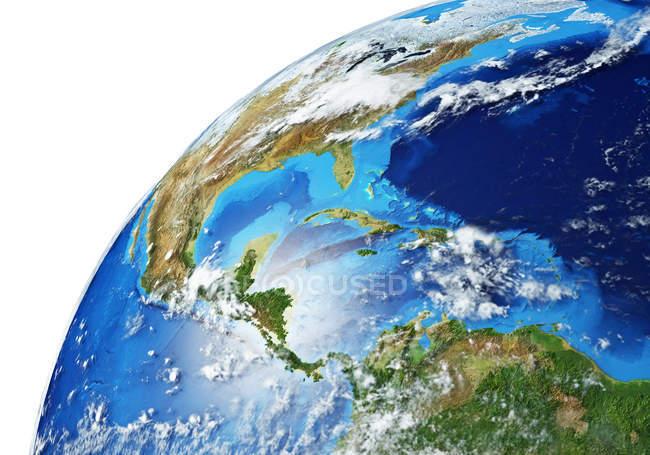 Nord- und Südamerika Bereich der Erdkugel, detaillierte und fotorealistische 3D-Illustration. — Stockfoto