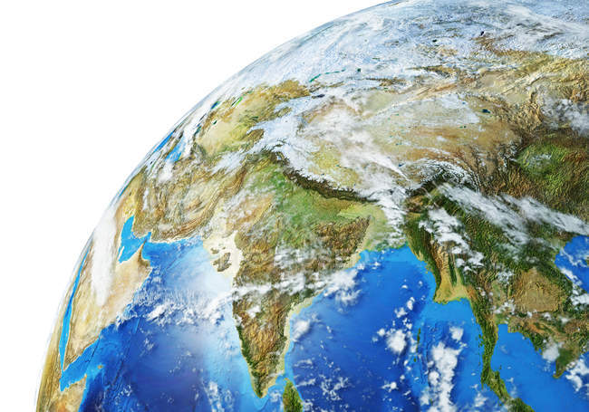 Asiatic area of Earth globe, detailed and photorealistic 3d illustration. — Stock Photo