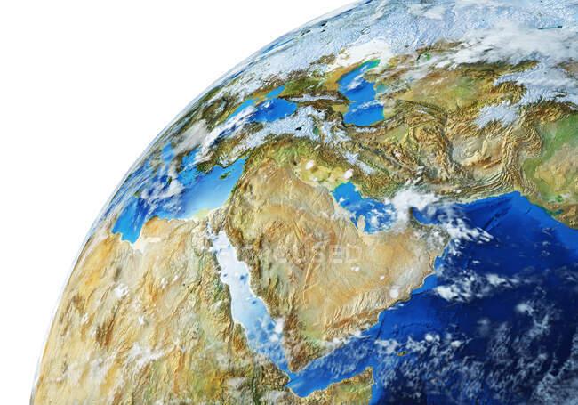 Oriente Medio globo terráqueo, ilustración 3D detallada y fotorrealista . - foto de stock