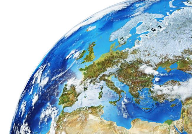 Europa-Bereich der Erdkugel, detaillierte und fotorealistische 3D-Illustration. — Stockfoto