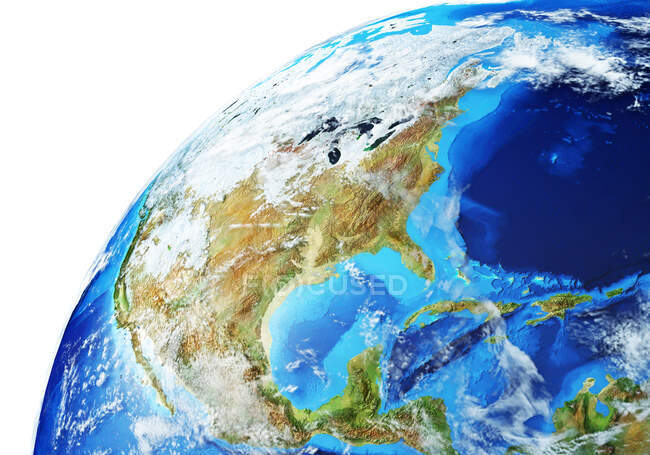 North America side of Earth globe, detailed and photorealistic 3d illustration. — Stock Photo