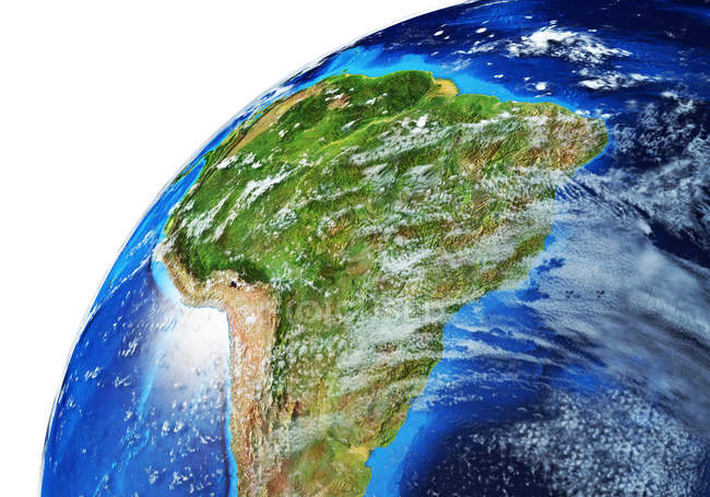 South America side of Earth globe, detailed and photorealistic 3d illustration. — Stock Photo