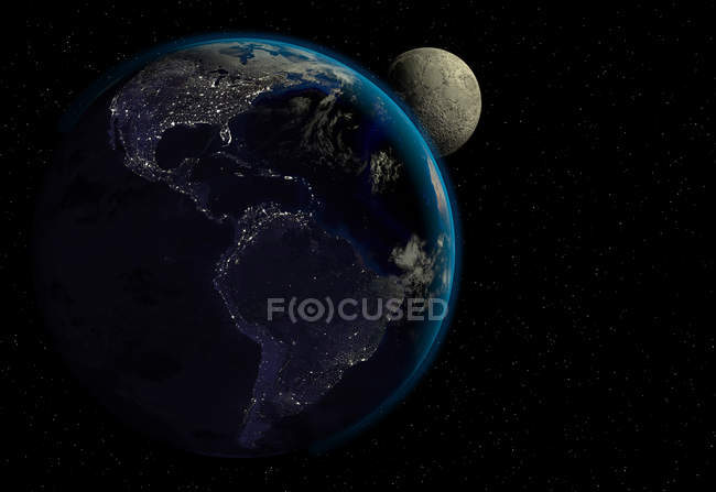 Planet Earth with sunrise in space, cities lights and moon, North and South America view. — Stock Photo