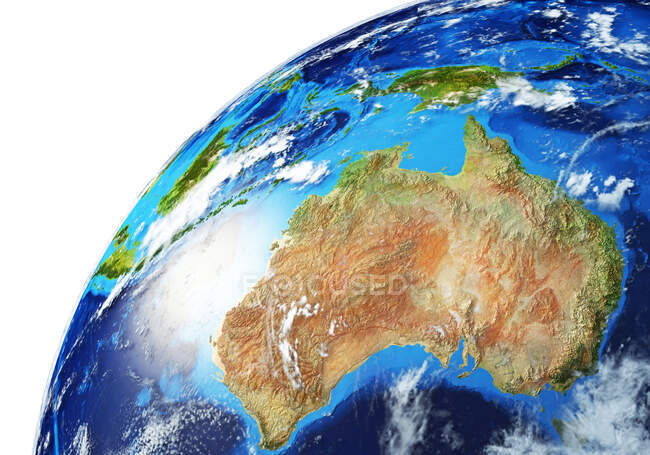 Oceania side of Earth globe, detailed and photorealistic 3d illustration. — Stock Photo